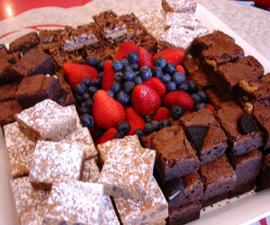 blueberries, brownies, and caramel image