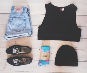 vans, beanie, and shorts image