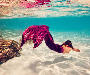 mermaid, pink, and sea image