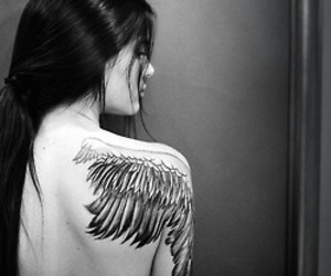 kendall jenner, tattoo, and angel image