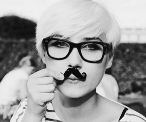 moustache, black and white, and fashion image
