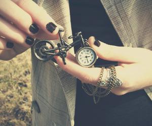 clock, bike, and vintage image