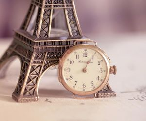 time, paris, and clock image
