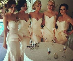 dress, wedding, and bridesmaids image