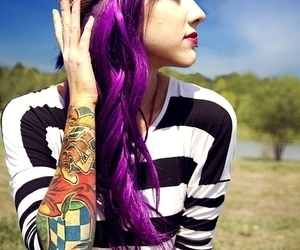 hair, tattoo, and girl image