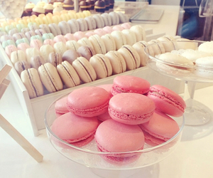 food, pink, and macarons image