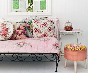 floral, pink, and room image