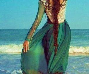 beach, green, and hair image