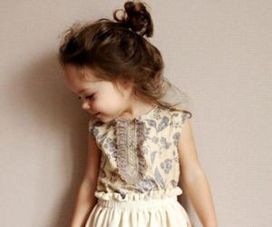 baby girl, brown hair, and dress image