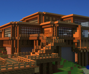 game, wood house, and minecraft image