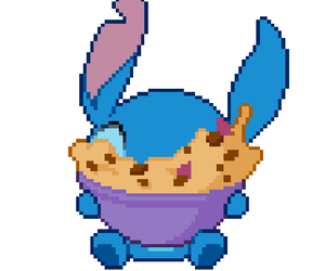 stitch, blue, and cookie doe image
