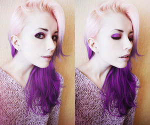 hair, purple, and pink hair image