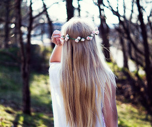 girl, flower crown, and summer image
