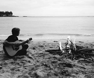 beach, guitar, and boy image