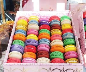 food, colorful, and macarons image