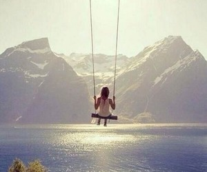 mountains, swing, and nature image