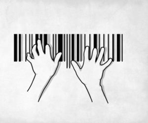 piano, black and white, and hands image