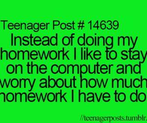 homework, funny, and teenager post image