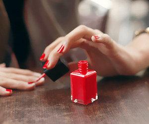 nails, red, and nail polish image