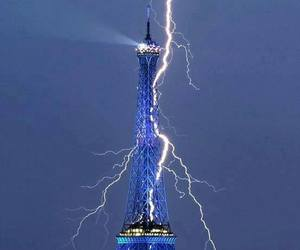 eiffel tower and lightning image
