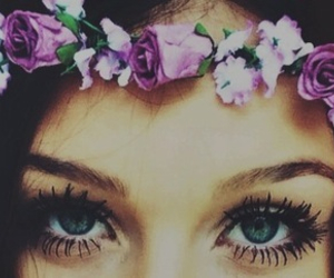 flowers, eyes, and girl image