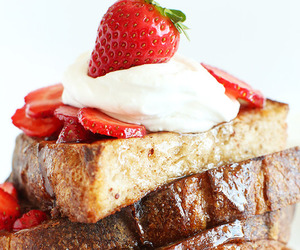 food, french toast, and strawberry image