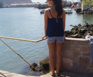 brunette, girl, and vacation image