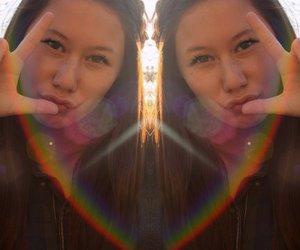 girl, nails, and rainbow image