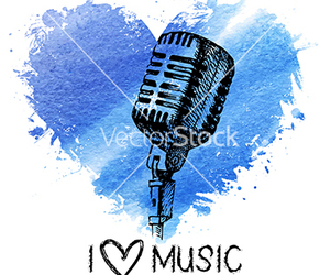 heart, watercolor, and microphone image