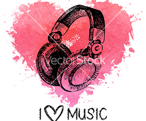 background, headphone, and heart image
