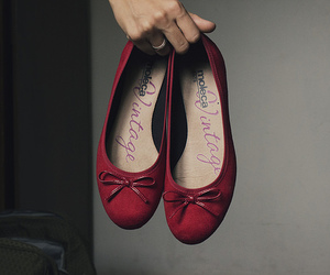 flats, red flats, and cute image