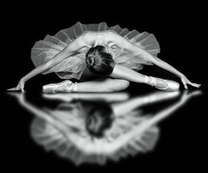 b&w, black and white, and ballerina image