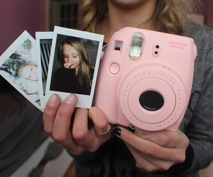 girl, pink, and polaroid image