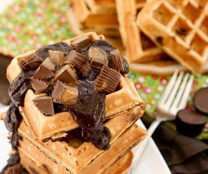 breakfast, chocolate, and waffles image