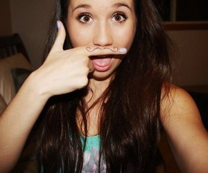 girl, mustache, and pretty image