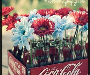 flowers, coca cola, and red image