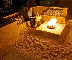 beach, fire, and home image