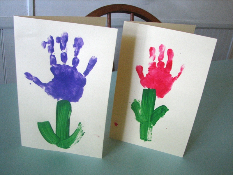 Simple Kids Mothers Day Card Simple Hand Print Flower Cards for their Mom  this Mother's Day | Card Magazine › Wedding Invitation, Baby Shower  Invitation, Birthday Invitation