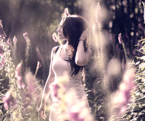beautiful, woman, and flowers image