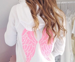 pink, girl, and angel image