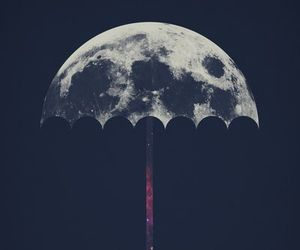 moon, umbrella, and art image