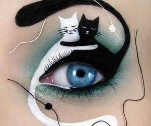 cat, makeup, and art image