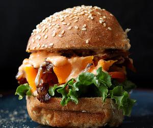 burger, food, and mayo image