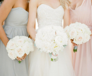 bride, bridemaids, and roses image