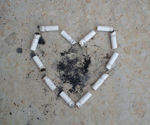 cigarette, heart, and nice image
