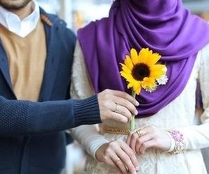 flowers, hijab, and couple image