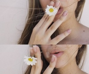 cigarette, flower, and lips image