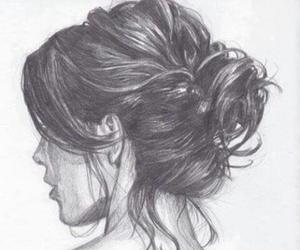 b&w, girl, and pencil image