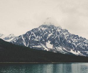 lake, mountains, and vintage image
