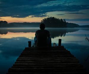 boy, lake, and water image